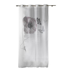 "Evideco - Printed Sheer Grommet Curtain Panels Opaline White - ""This attractive printed sheer window curtain panel OPALINE features a gray poppy with butterflies and slight writing, is sold individually and measures 55""""W x 95''L. This white and gray voile panel, made of 100% polyester, easily hangs with grommets, in a"""