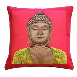 Pillow Decor Ltd. - Buddha in Pink French Tapestry Throw Pillow - Who said serenity can't be ultravibrant? If your bliss comes in electric hues, you will appreciate this dazzling accent pillow. Contrasting a Buddha image with a saturated two-tone background, this French tapestry pillow is a study in contrasts. Use it as a pop of color on a white sofa or a fun addition to your meditation room.