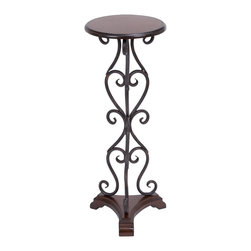 Woodland Imports - Metal Round Wood Accent Table Brown Entry Home Furniture Decor - Gorgeous and traditional inspired metal round wood accent table with a brown finish entry home furniture decor