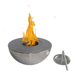 Anywhere Fireplace - Sutton 90211 - Tabletop Bio-ethanol Fireplace | Anywhere - Anywhere Fireplace Sutton 90211 Bio-Ethanol Fireplace features high quality polished stainless steel. Use on a table or ground, any stable surface. Light weight and easily portable. � Its modern style and sleek design makes Sutton a favorite for the ambiance of a small fire indoors or outdoors. Liven your living space with this portable fireplace. This fireplace ONLY USES 13oz Gel Fuel Cans for Fireplaces. We recommend Sun Jel Gel Cans for this model. This fuels are safe for indoor use and put off no harmful toxins into the air. Please be sure to not confuse with other kinds of fuels sold for cars and other non-fireplace applications. � This fireplace uses ONLY 13 oz Gel Fuel Cans for Fireplaces. These fuels are safe for indoor use and put off no harmful toxins into the air. Please be sure to not confuse with the bio-ethanol fuel and other fuels sold for cars and other non-fireplace applications. � Manufacturer: Anywhere FireplaceMeasures: 12 in. diameter x 5 in. heightFuel�- ONLY�Gel Fuel Cans - not includedLocation:�Indoors/Outdoors