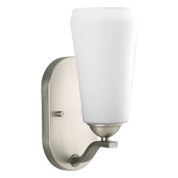 Progress Lighting - Progress Lighting P7048-81 One-Light Wall Sconce With Etched Glass Shade - One-light wall sconce
