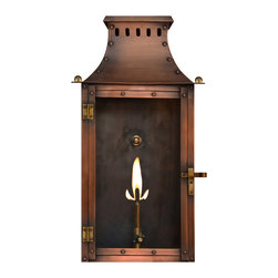 """The CopperSmith - York Town Copper Gas or Electric Lantern by The CopperSmith - A New Flush Mount Lantern in Gas or Electric.  This lantern matches Market Street and Somerset.  Available in 2 sizes. 16"""" and 19"""" in Natural Gas, Propane Gas or Electric with 2 bulbs.  The 16"""" size makes it great for smaller areas and their low profile allows them to be easily integrated into interior spaces.  Mellow antique copper with brass accents this lantern can be used with many different styles."""