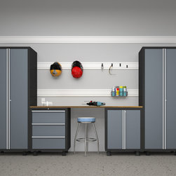 Newage Products - NewAge Products Bold Series 5-piece Grey Cabinet Set - The Bold Series cabinets keep specific belongings behind locked,closed doors and the Bamboo work surface makes any project more enjoyable and easier to do. With little-to-know installation,the Bold Series is the ideal storage solution for your garage.