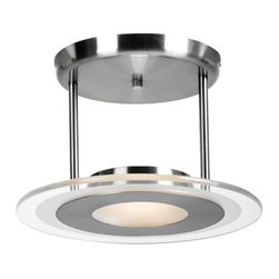 Access Lighting - Helius Brushed Steel One-Light Semi-Flush with Clear Glass with Center Frosted R - -Clear Glass with Center Frosted Ring  -120v  -Bulb(s) Included Access Lighting - 50481-BS/CFR