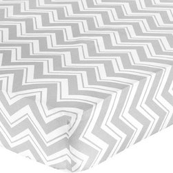 Sweet Jojo Designs - Fitted Crib Sheet for ZigZag Chevron Collection - This Fitted Crib Sheet for the Gray and Turquoise Zig Zag Collection will help complete the look of your Sweet Jojo Designs nursery. The gray and white zig zag cotton sheet fits all standard crib and toddler mattresses and is machine washable for easy care. Dimensions: 52 in. x 28 in. x 8 in. This listing is for crib sheet only.