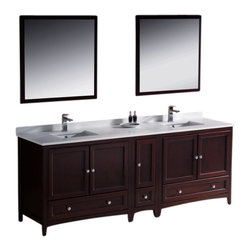 """Fresca - Oxford 84"""" Mahogany Double Sink Vanity w/ Side Cabin Cascata Chrome Faucet - Blending clean lines with classic wood, the Fresca Oxford Traditional Bathroom Vanity is a must-have for modern and traditional bathrooms alike.  The vanity frame itself features solid wood in a stunning mahogany finish that?s sure to stand out in any bathroom and match all interiors.   Available in many different finishes and configurations."""