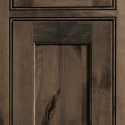 """Dura Supreme Cabinetry - Dura Supreme Cabinetry Highland Inset Cabinet Door Style - Dura Supreme Cabinetry """"Highland"""" inset cabinet door style in Knotty Alder shown with Dura Supreme's """"Morel"""" gray stain finish with the concealed inset hinge option. (With beaded frame)"""