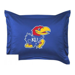 Sports Coverage - Kansas University Jayhawks Locker Room Collection Pillow Sham - Show your team spirit with this officially licensed 25 x 31 Kansas Jayhawks sham. There is a 2 flanged edge that decorates all four sides of each Kansas NCAA sham. Made of 100% polyester jersey mesh, just like the players wear, with screen printed Kansas Jayhawks logo in the center. Envelope closure in back. Fits standard pillow. Coordinates with Kansas Locker Room Collection. 3 overlapping envelope closure is on back.