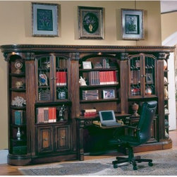 Parker House Huntington Glass Front Bookcase Library Wall With 2-Piece Library D - The Parker House Huntington Glass Front Library Wall with Two-Piece Library Desk gives your office or home a rich, luxurious feel. This collection of fine office furniture has a gorgeous traditional English style. It is crafted of solid wood finished in an antique vintage pecan with accent shading and highlighting, hand-distressing, and a medium-sheen topcoat for added protection. The stunning leaded-glass door inserts feature a classic, beveled diamond pattern. All components have strong locking bolts that connect them together and ensure stability. This library wall features glistening leaded-glass door fronts for enclosed storage of books and documents, as well as elegant open display spaces for treasured objects. It even offers adjustable shelving. The desk features three adjacent bookcase shelves, one drop-down laptop drawer, and two standard file drawers to fully accommodate all office storage necessities.The library wall is composed of two 17.75W x 17.75D x 80.25H-inch rounded, outside corner display pieces; two 32.25W x 17.75D x 80.25H-inch glass-door cabinets; and one 40.5W x 21D x 80.25H-inch two-piece desk.About Parker HouseFamily-owned and -operated, Parker House Furniture is based in California and has been serving the fine furniture industry since 1946. The company's time-proven quality is an industry standard. Parker House continues its legacy with its newest line of expanding television consoles and entertainment wall systems, plasma TV stands, and accessories. Parker House takes pride in the quality of its furniture and is committed to making customer satisfaction its No. 1 priority.Delivery Notice: This item includes in-home delivery to the room of your choice, including up to two flights of steps and/or elevator. The product is unpacked, debris is removed, and basic setup without tools is included. Full assembly service typically involves additional charges payable prior to delivery. Special service arrangements may be made directly with the freight carrier when they call you for your delivery appointment.