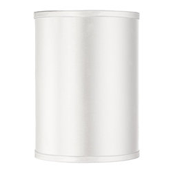 "Lamps Plus - Contemporary Sydnee Satin White Cylinder Lamp Shade 8x8x11 (Spider) - Easily add a new look to your home with this perfectly versatile white cylinder shade. Lustrous satin is paired with a detailed silver grey trim and matching liner for a delightfully dynamic design plus a convenient chrome spider fitter that makes it easy to refresh your favorite lamps with color and elegance. The correct size harp is included free with this purchase. From the Sydnee Collection. Hardback cylinder lamp shade. White satin exterior. Silver piping. Silver liner. Chrome spider fitter. 8"" across the top. 8"" across the bottom. 11"" high.  White satin cylinder shade.  Silver grey trim and liner.  Chrome finish spider fitter.  8"" across the top.  8"" across the bottom.  11"" high."