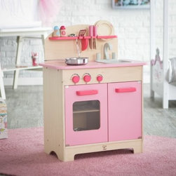 Hape Pink Gourmet Play Kitchen with Accessories - Let them socialize learn explore and imagine with the Hape Pink Gourmet Play Kitchen with Accessories. This cute little kitchen has everything they need to cook up something fun! Durable and made to last through years of play it's crafted of maple birch and engineered wood and finished with kid-safe water-based paint in a poppy shade of pink. Rounded edges and smooth surfaces keep this set safe and its size makes it perfect for ages three and up. Cooking accessories are included so they can get started playing pretend as soon as everything is set up. The winner of many awards including Parenting's Toy of the Year award and the Oppenheim Toy Portfolio's Platinum Award in 2012 this wonderful play kitchen is just what your child needs to get his or her imagination cooking! About Hape InternationalDrawing on decades of child development expertise Hape (pronounced hah-pay) International is sensitive to children's needs whenever they develop and design a new toy. Their toys support children throughout every stage of development. This support starts at a very young age to help nurture and develop their natural abilities. Hape International's first priority is to encourage children in their individual development through building their self esteem. With their high-quality toys and games they support children as they play learn interact and grow. Hape understands that children's social emotional intellectual and physical health is a key issue not only for parents but also for a healthy society. That's why they take this responsibility very seriously and conduct a wide range of toy safety tests. The result is safe exciting stimulating toys.