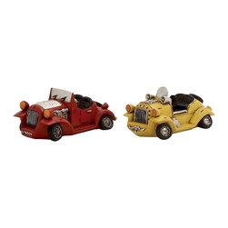 Maroon and Yellow Polystone Car Piggy Bank, Set of 2 - Description: