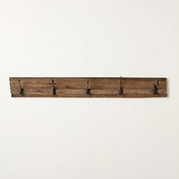 """Anthropologie - Schoolroom Hook Rack - Hardware requiredReclaimed wood, iron, MDF5""""H, 36""""W4.25"""" projectionImported"""
