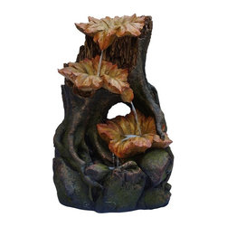 Alpine Fountains - Three Leaf Tier Rainforest Fountain w LED Lig - Made of Polyresin, Stone Powder, and Fiberglass. 1 Year Limited Warranty. Assembly Required. Overall Dimensions: 22 in. L x 20 in. W x 35 in. H (28.6 lbs)These fiberglass fountains have the look of natural, aged tree bark and leaves.  Multiples streams of water flow creates a relaxing and meditative atmosphere. They can be placed indoors or out.