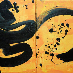 Contemporary Diptych Chinese Calligraphy Zen wall Art Original Paintings - BUY HERE: