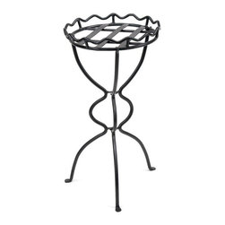 "Achla - Wrought Iron Curved Body Planter Stand - The distinctive curved legs of the Virgin Plant Stand provide trailing vines with room to climb and entwine.  Crafted of iron with lustrous graphite powdercoating for long lasting durability, the Virgin Plant Stand is 28"" tall and 14.5"" in diameter.  This fresh and exuberant plant stand features three curvaceous legs which not only keep it steady and firm, but also complement the wavy top holder rim.  It's finished off by its nice weave seat.  This spacious plant stand offers plants plenty of room to climb and grow, with long lasting durability and a beautiful black powdercoat finish. * The distinctive curved legs of the Virgin Plant Stand provide trailing vines with room to climb and entwine. Crafted of iron with lustrous graphite powdercoating for long lasting durability, the Virgin Plant Stand is 28"" tall and 14.5"" in diameter. . 14.5 in Dia. X 28 H in"