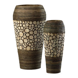 Cyan Design - Wood Slice Oblong Vases (Set of 2) - You'll want to get up close to these detailed vases. They're adorned with sliced wood pieces in a variety of sizes, for an appealing texture and aesthetic. The bases and tops are wrapped in wood, creating an even warmer feel.