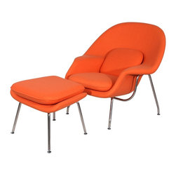 Hampton Modern - Eero Saarinen Style Womb Chair and Ottoman Set in Orange - The Womb Style Lounge Chair and Ottoman offers a classic look that is incredibly comfortable due to the contouring shape, plush pillows included, and soft upholstered wool.  A great chair for reading, kicking your feet up and relaxing, or even taking a cozy nap by a fireplace, it is sure to meet your approval.  Features high quality hand stitching that will last, and stainless steel leg frame.