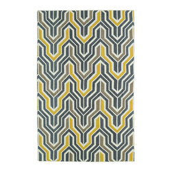 """Kaleen - Kaleen Glam Collection Gla03-28 2'6""""X8' Yellow - The Glam collection puts the fab in fabulous! No matter if your decorating style is simplistic casual living or Hollywood chic, this collection has something for everyone! New and innovative techniques for a flatweave rug, this collection features beautiful ombre colorations and trendy geometric prints. Each rug is handmade in India of 100% wool and is 100% reversible for years of enjoyment and durability."""