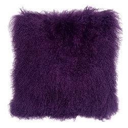 Pillow Decor - Pillow Decor - Mongolian Sheepskin Purple Throw Pillow - Mongolian Sheepskin Throw Pillows in twelve luxurious colors.