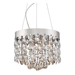 """Vienna Full Spectrum - Contemporary Vienna Full Spectrum Elea 15 3/4"""" Wide Crystal Pendant Light - Add lustrous illumination to your home with this stunning pendant light. Clear and cognac crystal are paired for a dynamic look with a chrome finish for chic shine. From the Vienna Spectrum Elea Collection. Chrome finish. Clear and cognac crystal. Includes seven 20 watt G4 halogen bulbs. Ten feet adjustable hanging height. 15 3/4"""" wide. 12"""" high. Canopy is 6"""" wide. Hang weight is 16.8 pounds.  Chrome finish.  Clear and cognac crystal.  Includes seven 20 watt G4 halogen bulbs.  Ten feet adjustable hanging height.  15 3/4"""" wide.  Canopy is 6"""" wide.   Hang weight is 16.8 pounds."""