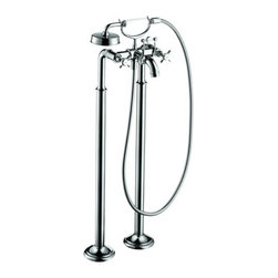 """Hansgrohe - Axor Roman Tub Filler with Cross Handles, 50"""" Hose/Hand Shower Less Valve - Axor Montreux Roman Tub Filler Faucet Free Standing with Diverter, Metal Cross Handles, 50"""" Techniflex Hose and Single Function Hand Shower Less ValveFree standing tub filler Traditional cross handles Solid brass Handshower with normal spray AIR 90 degree ceramic cartridge Diverter for 1/2"""" Hand shower outlet 1/2"""" male NPT inlet Spout reach 9 3/8"""" Valve 16549 required"""