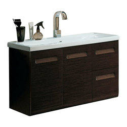 Iotti - 38 Inch Vanity Cabinet With Ceramic Sink - This sleek wall mounted bathroom vanity set includes a vanity cabinet 2 doors and 2 drawers made of engineered wood in a beautiful wenge finish. The set also includes a self-rimming ceramic sink. Please note vanity set does not come with faucet. Made and designed in Italy by high-end bathroom brand Iotti.