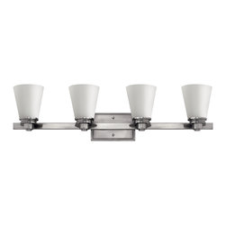 Hinkley Lighting - Avon 4-Light Vanity - From a vintage collection reminiscent of the 1920s and 1930s comes this clean, sophisticated light in brushed nickel. Its timeless design will look stunning in your bathroom and above your vanity.