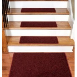 "Dean Flooring Company - Dean Carpet Stair Treads 27"" x 9"" - Ruby Red PLUSH (13) plus a 2' x 3' Mat - Dean Carpet Stair Treads 27"" x 9"" - Ruby Red PLUSH (13) plus a 2' x 3' Mat : Quality, Stylish Carpet Stair Treads by Dean Flooring Company. Extend the life of your high traffic hardwood stairs. Reduce slips/increase traction (treads must be properly secured to your stairs). Cut down on track-in dirt. Great for pets and pet owners (helps your dog easily navigate your slippery stairs. 100% Premium quality nylon. 35 ounce stain and spill resistant PLUSH carpeting. Dean signature rounded corners. Add a fresh new look to your staircase. Set includes 13 carpet stair treads PLUS one roll of double-sided carpet tape for easy, do-it-yourself installation and a matching 2' x 3' landing mat. Each tread is finished on the edges with color matching yarn. No bulky fastening strips. You may remove your treads for cleaning and re-attach them when you are done. Add a touch of warmth and style to your stairs today with new stair treads from Dean Flooring Company!"