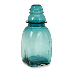 iMax - iMax Insulator Large Glass Canister X-76036 - Keep essential items visible and within reach in this large aqua glass lidded canister. Food safe.
