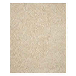 InnerSpace Luxury Products - InnerSpace Indoor Vivoli Shag Rug Collection - White & Beige (8-ft x 10-ft) - InnerSpace Indoor Vivoli Shag Rug Collection - White & Beige.  The 8-ft x 10-ft flame-retardant area rug is crafted with a soft, deep pile of table-tufted, long yarn shag.  It provides provides a comfortable foot fall and a dynamic ambiance in white and beige that form the perfect style quotient for children's play rooms and contemporary decorating environments.  Featuring a 4-cm pile height, polyester yarn and threading, and a polyester/cotton blend backing, this versatile area rug is for indoor use. Spot clean with carpet cleaner; to prevent color fading, do not saturate the stain; do not vacuum, remove loose dirt with a hand brush.  One Year Manufacturer Limited Warranty.Also available in 5-ft x 7-ft.