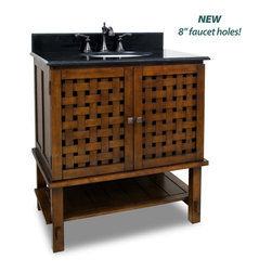 "Hardware Resources - Elements Bathroom Vanity - This 31-1/2"" wide solid wood vanity has a unique basket weave design on the cabinet doors and open shelf give an airy feel. A large cabinet provides ample storage. This vanity has a 2CM black granite top preassembled with an H8809WH (15"" x 12"") bowl, cut for 8"" faucet spread, and corresponding 2CM x 4"" tall backsplash. Overall Measurements: 31-1/2"" x 22-1/2"" x 35"" (measurements taken from the widest point) - Faucet must be purchased separately"