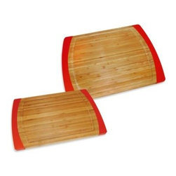 Lipper International Inc. - Bamboo Red Non-Slip Cutting Boards - These solid bamboo boards stay put while providing a solid, strong cutting and prepping surface. Convenient red silicone sides prevent slippage while keeping the board secure and in place. Bamboo ensures long lasting use and is gentle on your knives.
