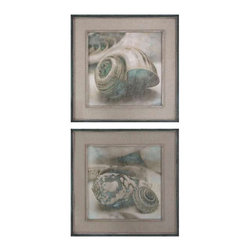 Uttermost Coastal Gems Framed Art, S/2 - See special instructions. These oil reproductions feature a hand applied brushstroke finish. Outer section of frames have lightly distressed, muted aqua undertones with heavy charcoal wash. Inner lips have an off-white undertone with heavy taupe wash. Mats are gray, oatmeal linen.