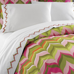 Jonathan Adler Pink Flame Duvet Cover - Palm Beach meet Palm Springs in this vibrantly patterned duvet cover from Happy Chic master Jonathan Adler.