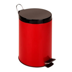 12L Step Trash Can, Red - 12l capacity (15inh x 9.75inw)