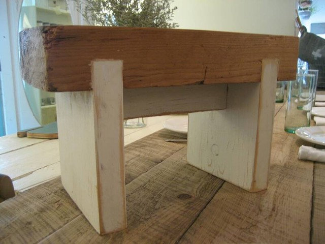 White Flower Farm House- barn beam stool