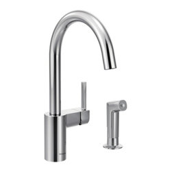 Moen - Moen 7165 Align Spot Resist Stainless One-Handle High Arc Kitchen Faucet - Moen 7165 Align Spot Resist Stainless one handle High Arc Kitchen Faucet. From Classic home kitchens to large elegant workstations, Align Faucets add a modern and functional look to your cooking area. Subtle lines create a contemporary style, while Spray wand adds functionality. Additional feature for this Faucet includes a Spot Resist stainless finish resists fingerprints and water spots for a cleaner looking kitchen, a limited lifetime warranty, and its equipped with the Reflex system for smooth operation, easy movement and secure docking of the pull down/pullout spray head. Great for everyday light work, and those days when heavy-duty cleanups are necessary also.
