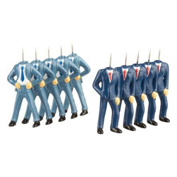 pinhead push pins set of 10 - stick it to the suits. Corporate clones lose their mind in buttoned-up blue business wear. Two styles tack tasks no-head first.- Plastic- Made in China