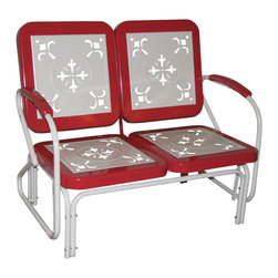 4D Concepts - 4D Concepts Metal Retro Glider in Red Coral & White Metal - Enjoy a wonderful evening out on the patio with this retro style glider.  You'll get simply nostalgic over the cut-out details on all the seat and backrests. Built to be as comfortable as it is charming, this set features a glider for smooth to-and-for motion.  The metal seat and backrests are trimmed in a vibrant shade of vintage red coral.  The metal arms with red coral metal capped armrest are a finishing touch to an outstanding glider. The rich powder coated white and yellow trim give it a distinct look.  Constructed of metal .  Clean with a dry non abrasive cloth.  Assembly required.