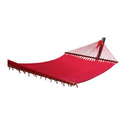 """Caribbean Hammocks - Hammock Jumbo 55"""" Wide - Free Suspension Kit, Red - The combination of traditional design with modern materials so often produces a vastly superior product than the original, and this Jumbo Caribbean Hammock is no exception."""