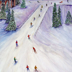 overstockArt.com - Luglio - Rush Hour - Rush Hour is a beautiful painting of skiers on a track originally made as an oil painting on canvas by Loretta Luglio. Enjoy the beauty and color of this painting reproduced as a fine canvas print. Loretta Luglio is a full time professional artist specialized for oil paintings but also watercolor and pastel. After 30 year as a graphic and web designer she's back to her first love, painting. Currently working in Bucks County, PA, as a nature lover her main motifs are animals and flowers. She hopes that her collectors can be touched by nature in the same way as she is and enjoy the beauty that is around us and is given to us each day.