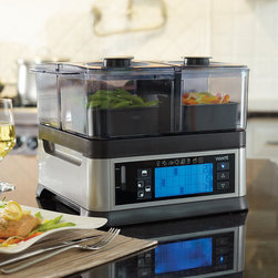 """Frontgate - Intellisteam by Viante Food Steamer - Steam savory rice, fish, and vegetables all at the same time and enjoy a piping hot, healthy meal. Allows foods to cook in their own natural juice, minimizing loss of nutrients while retaining best texture and flavor. Eliminates the need for butter and oil. Includes a warming function. Separate temperature and timer controls for each compartment. Save energy, time, and effort while maximizing your foods' freshness and nutrient value with the Intellisteam Food Steamer. This innovative, easy-to-use steamer features three cooking chambers that can prepare different foods simultaneously without any diffusion of flavors. Plus, it can be programmed so that each food finishes cooking at the same time.  .  .  .  .  . Manual and automatic pre-set cooking controls . Visible water gauge allows you to monitor water levels . Auto shut-off . Dishwasher-safe accessories . 36"""" cord; 120V ."""