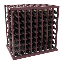 Double Deep Tasting Table Wine Rack Kit in Pine with Burgundy Stain + Satin Fini - The quintessential wine cellar island; this wooden wine rack is a perfect way to create discrete wine storage in open floor space. With an emphasis on customization, install LEDs or add a culinary grade Butcher's Block top to create intimate wine tasting settings. We build this rack to our industry leading standards and your satisfaction is guaranteed.