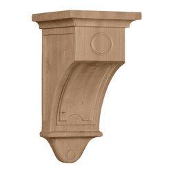"""Ekena Millwork - 5""""W x 5""""D x 9""""H Arts and Crafts Corbel, Alder - 5""""W x 5""""D x 9""""H Arts and Crafts Corbel, Alder. Enjoy the warmth and beauty of carved wood corbels. With the proper installation, these wood brackets can support up to 250lbs, which gives you the flexibility to use a decorative bracket for support. Available in a variety of species, these brackets ship to you fully sanded and ready for your paint or stain."""