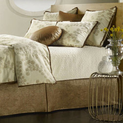 Mystic Home - Splendore Copper Bough Gold California King Complete Bed Set - - The Splendore Copper Complete integrates a Duvet cover, a bed skirt, a 22-in A Pillow, a 22-in B Pillow, a large boudoir, a coverlet, and a sheet set with Shams as follows: Super King / Cal King / King 3 (2 A, 1 B) Euro Shams + 2 King Shams, All Sham sold flat   - Frame Material: Cotton, Linen and Rayon   - Cleaning/Care: Dry Clean Only   - Pillow Not Included   - Made in USA Mystic Home - ZPLECC-3