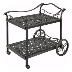 Fiesta Beverage Cart, Aged Bronze - Drink carts allow you to roll out your food and drink to guests, and then let them help themselves. They are a fun addition to any outdoor space. I love the vintage look of this one in cast iron aluminum.