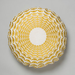 Krakow Cushion - Niki Jones - The radiant Krakow cushion from Niki Jones is a modern take on an old Polish folk pattern. The golden, concentric pattern is embroidered onto white linen.
