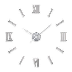 DIY Metal Wall Clock with Roman Numerals - Create a unique wall clock design that expresses your own personal sense of time! The DIY Metal Wall Clock with Roman Numerals is designed so that you can place the numbers wherever and however you wish! The possibilities are limitless - construct a conventional clock, or abstract wall art from your imagination. They say that time is relative, and this clock conveys this perfectly.