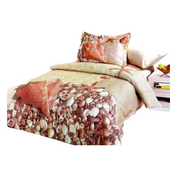 Le Vele - 4 Pc Deniz Duvet Cover Bedding Set (Full-Queen Cover) - Choose Size: Full-Queen Cover. Twin size includes bed sheet, duvet cover, pillow case and flanged pillow sham. Full or queen size includes one flat bed sheet, one duvet cover, two pillow cases and two pillow shams. Machine washable. Tumble dry. 205 thread count. Imported. Tucked in or can hang over eliminating the need for a bed skirt. Oversized flat sheet provides versatility. Snaps at the foot of the duvet make it easy to insert a comforter. Excellent brightness and long lasting colors. Sheets feel soft and inviting. High quality cotton fabric and superior workmanship. Made from 100% cotton fabricTwin:. Bed Sheet: 96 in. L x 71 in. W. Duvet Cover: 87 in. L x 63 in. W. Pillow Case: 30 in. L x 20 in. W. Pillow Sham: 32 in. L x 20 in. WFull and Queen:. Flat Bed Sheet: 99 in. L x 87 in. W. Duvet Cover: 87 in. L x 80 in. W. Pillow Cases: 30 in. L x 20 in. W. Pillow Shams: 32 in. L x 20 in. WSea shells and starfish is printer on a sand filled background to create a summery sensation of lazing on a tropical beach. Satin weaving for wrinkle control are printed with the latest reactive dyeing technology. This complete bedding set is delivered in an elegant box wrapped in glossy paper and tied with an ornamental bow. A Le Vele French designer carrying gift bag is also included in the package.